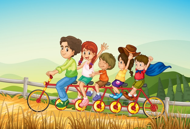Happy kids riding the bicycle at the farm Free Vector