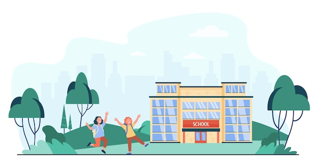 Happy kids running outside near school isolated flat vector illustration. cartoon children going along road to school entrance. education and childhood concept Free Vector