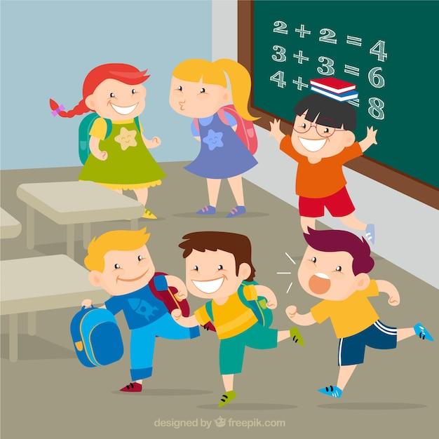 Happy kids at school Free Vector