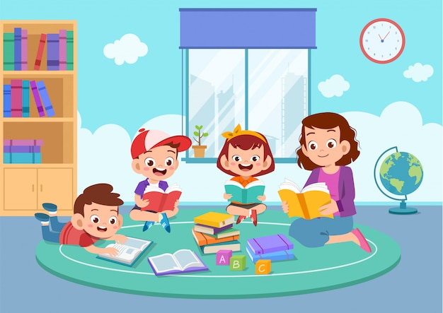 Happy kids studying together with their teacher Premium Vector