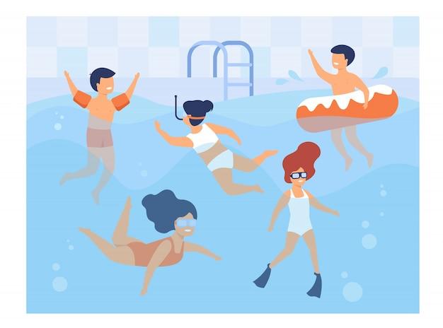 Bambini felici che nuotano in piscina Vettore gratuito