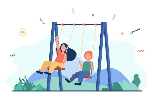 ブランコで揺れる幸せな子供たち。遊び場での活動を楽しんでいる小さな友達。子供の頃、屋外の余暇、友情の概念のベクトル図 無料ベクター