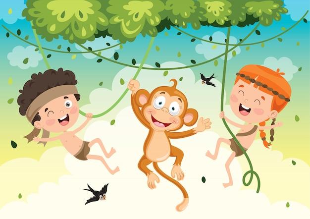 ジャングルの中で猿とスイング幸せな子供 Premiumベクター