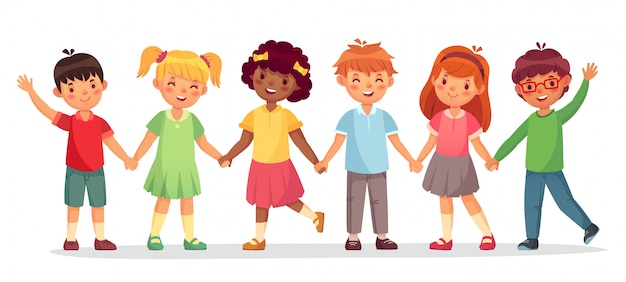 Happy kids team. multinational childrens, school girls and boys stand together holding hands isolated  illustration Premium Vector