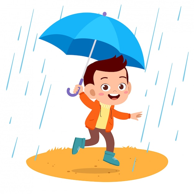 Happy kids umbrella rain Premium Vector