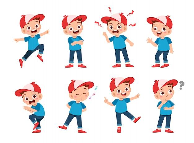 Счастливые дети носят шапку выражения Premium векторы