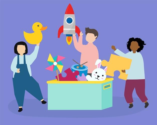 Счастливые дети с иллюстрациями игрушек Бесплатные векторы