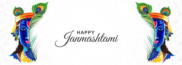 Happy krishna janmashtami creative festival banner design Free Vector