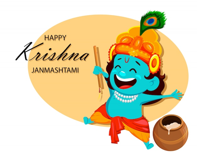 Happy krishna janmashtami. little lord krishna Premium Vector