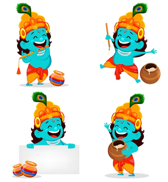 Happy krishna janmashtami Premium Vector