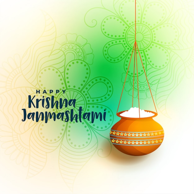 Happy krishna janmastami beautiful greeting with dahi handi Free Vector