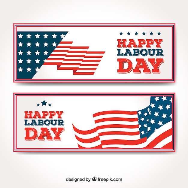 Happy labor banners with american flag waving