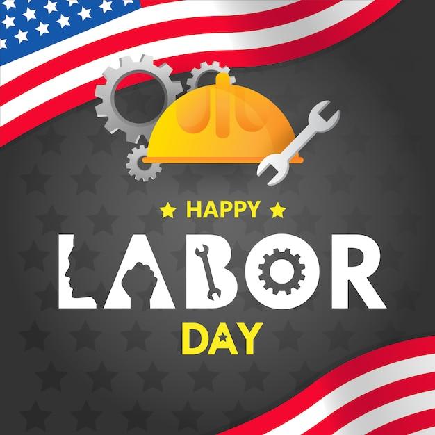 Happy labor day in america design Premium Vector