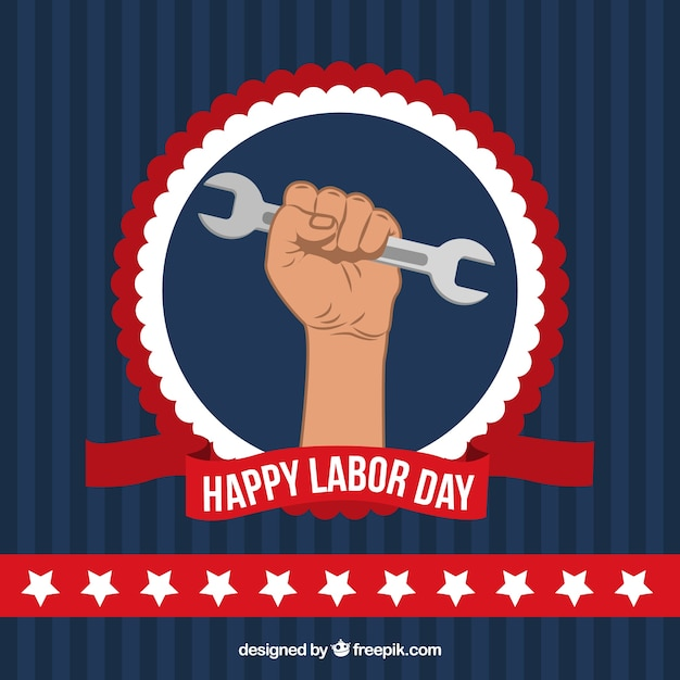 Happy labor day background of hand with wrench