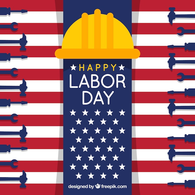 Happy labor day background with tools and\ helmet in flat design