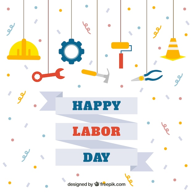 Happy labor day background with tools in flat design