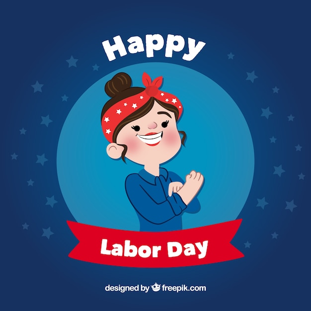 Happy labor day background with worker\ woman