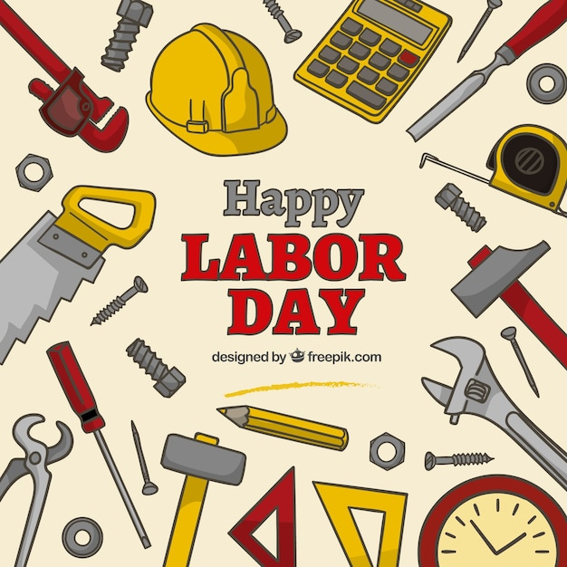 Happy labor day background Free Vector