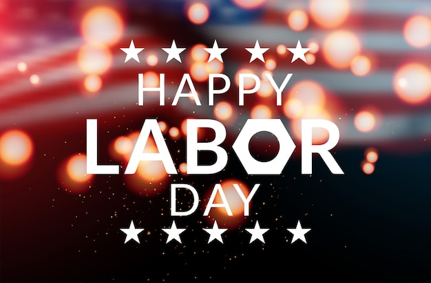Happy labor day banner vector illustration, beautiful usa flag waving on blue star pattern background Premium Vector