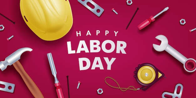 Happy Labor Day Banner Premium Vector