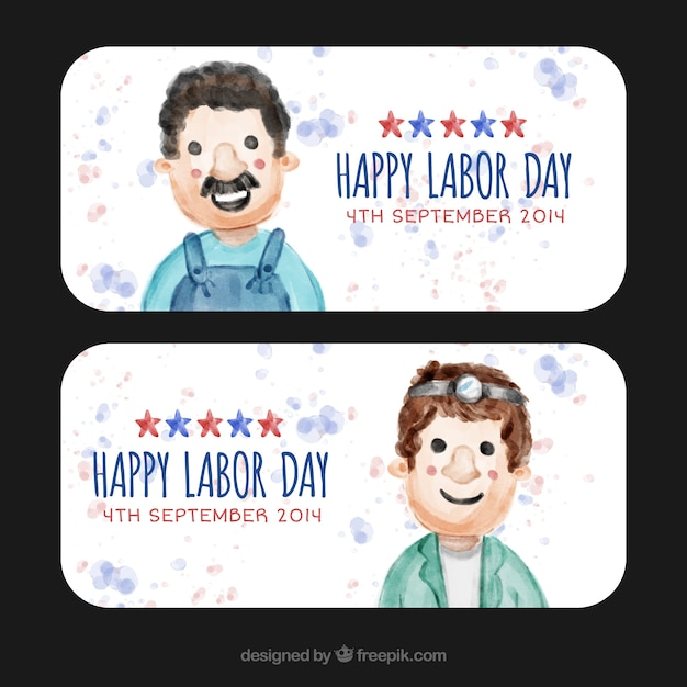 Happy labor day banners in usa with watercolor\ people