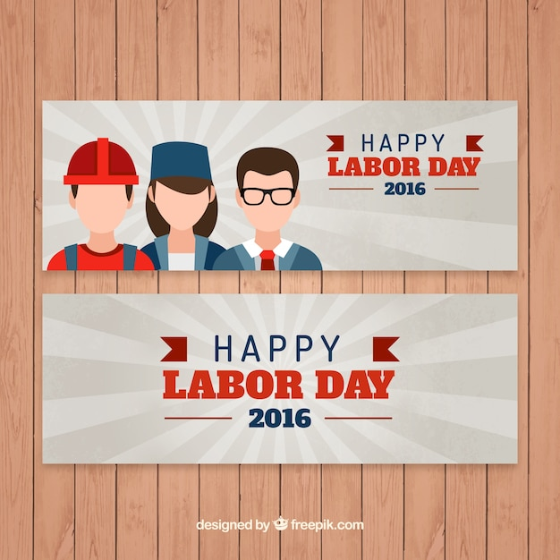 Happy labor day banners with different\ professions