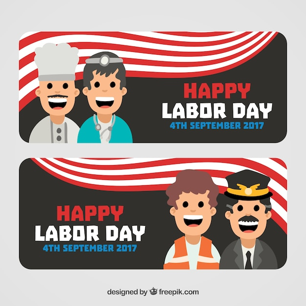 Happy labor day banners with happy workers