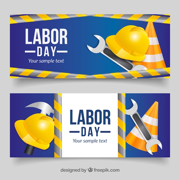 Happy labor day banners with tools Free Vector