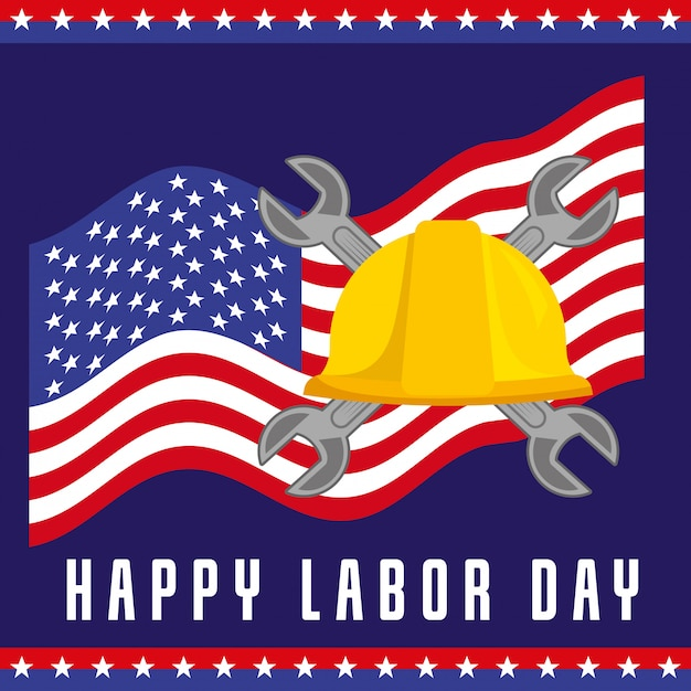 Happy labor day card Premium Vector