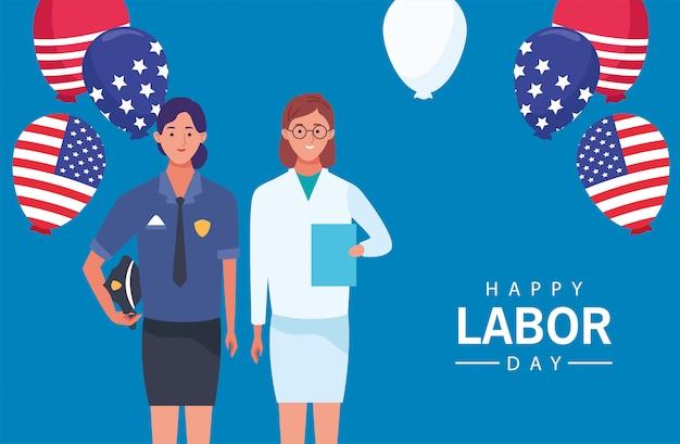 女性警察と医師との幸せな労働者の日のお祝い Premiumベクター