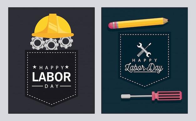 Празднование дня труда со шлемом и карандашом Premium векторы