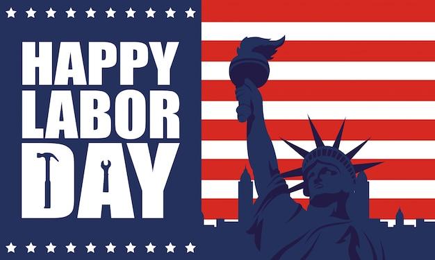 Празднование дня труда с флагом сша и статуей свободы Premium векторы