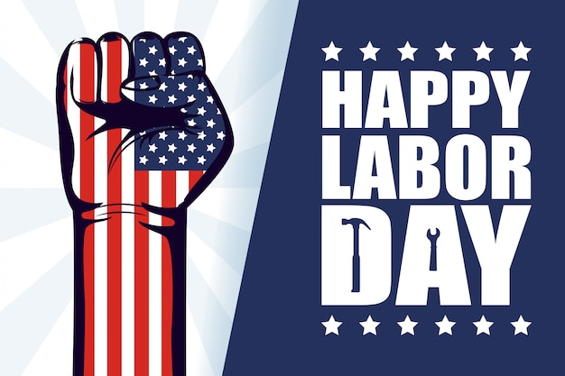 Happy labor day celebration with usa flag and hand fist Premium Vector
