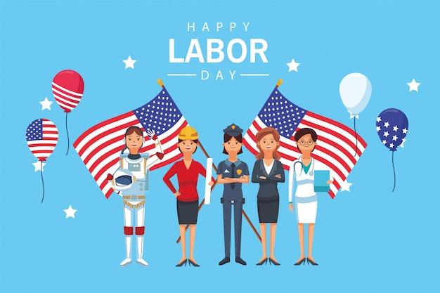 労働者とフラグとの幸せな労働者の日のお祝い Premiumベクター