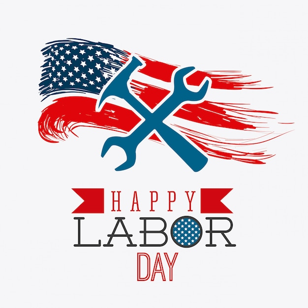 Happy labor day design. Free Vector
