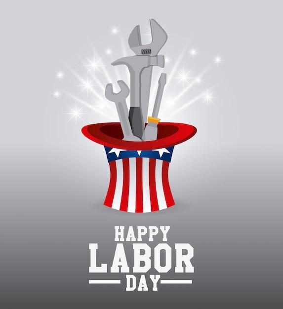 Happy labor day design. Free Vector