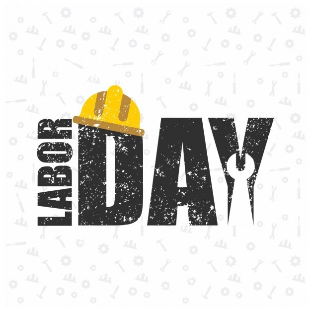 Happy labor day grunge background with a\ helmet