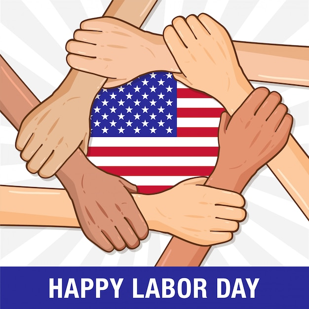 Happy labor day holding hands Premium Vector