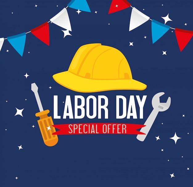 Баннер праздника счастливого дня труда с защитой шлема и конструкцией инструментов Premium векторы