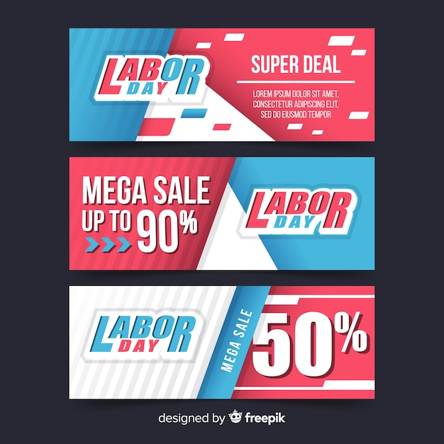 Happy labor day mega sale banner Free Vector