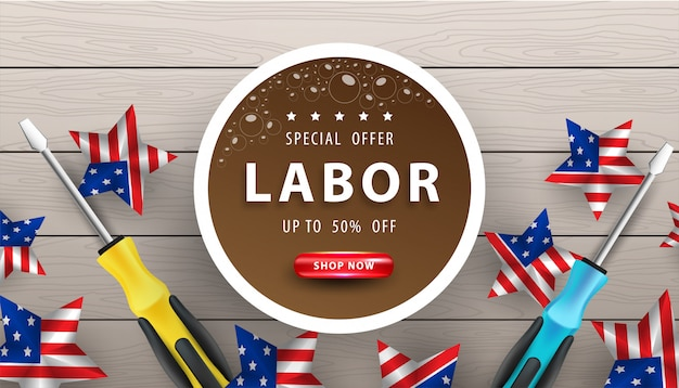 Happy labor day poster.usa labor day celebration on wooden background Premium Vector
