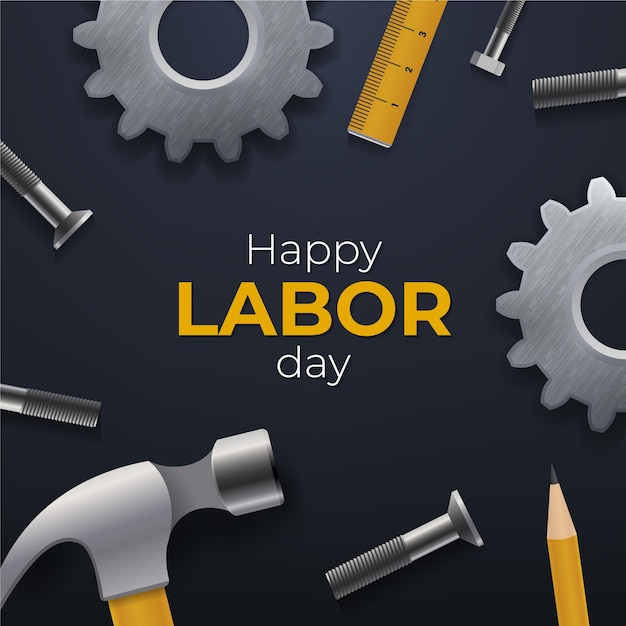 Happy labor day in the usa Free Vector