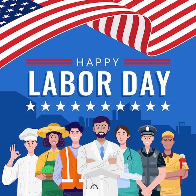 幸せな労働日。アメリカの国旗で立っている様々な職業の人々。 Premiumベクター