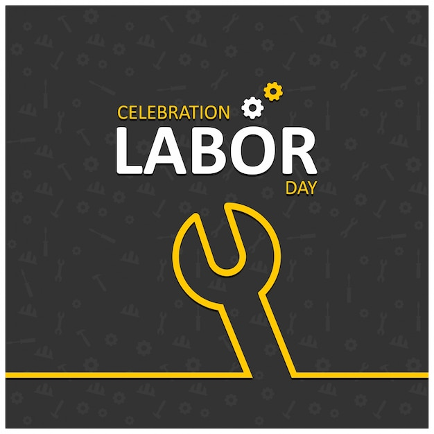 Happy labor day with wrench symbol Free Vector