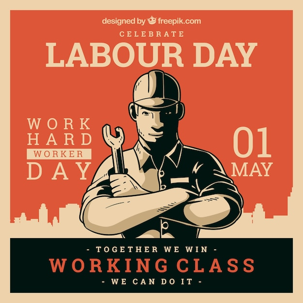 Happy labour day background with worker in flat style Free Vector