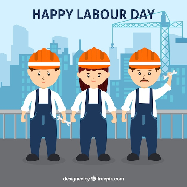 Happy labour day background with workers in flat style Free Vector