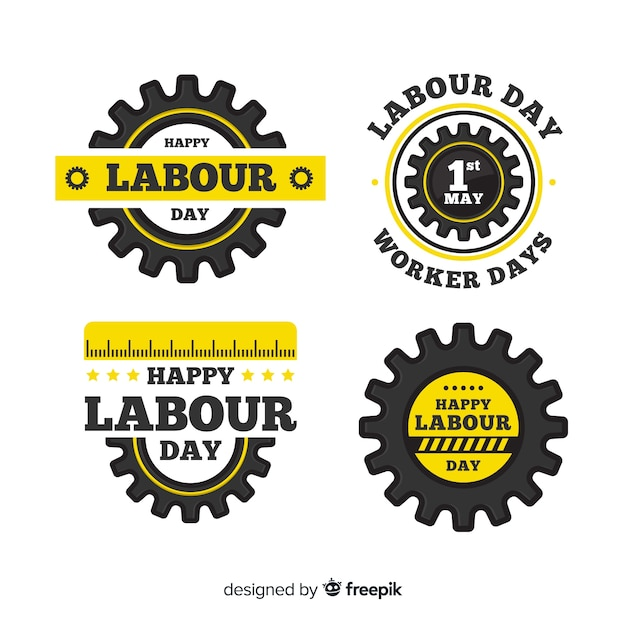 Happy labour day badge collection Free Vector