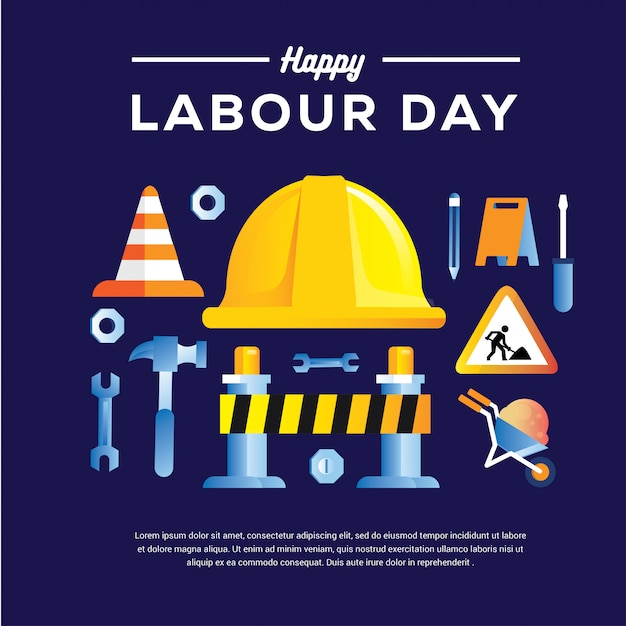 Happy labour day banner with helm hammer drill scope 1st may design template Premium Vector