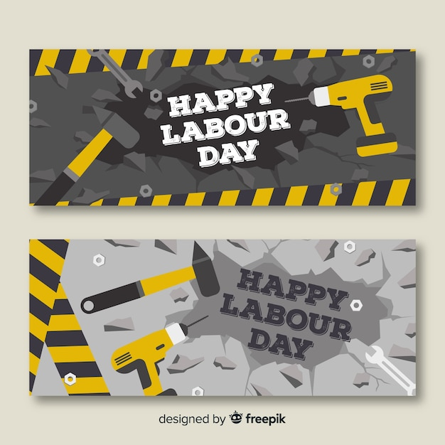 Happy labour day banners Free Vector