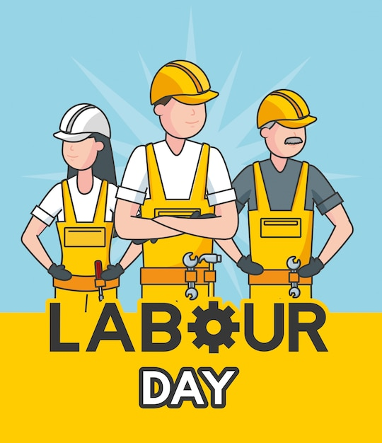 Happy labour day labourers in a blue illustration Free Vector